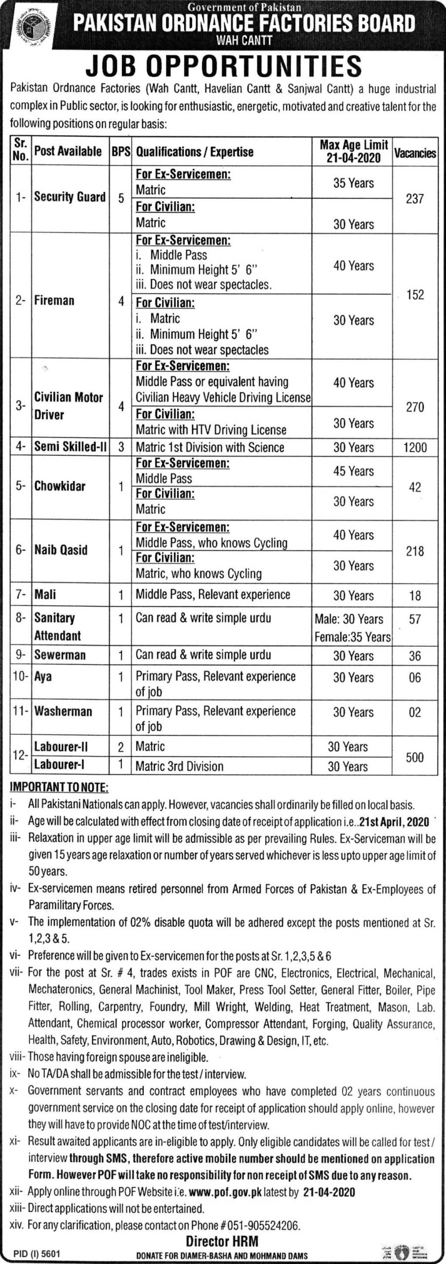 Pakistan Ordinance Factory Jobs