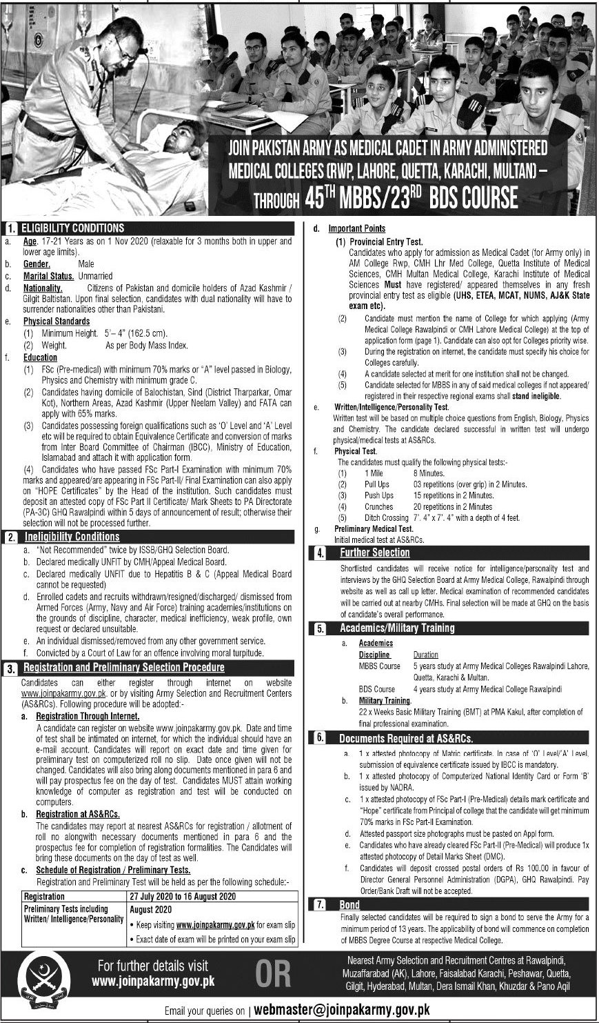 Pak Army As Medical Cadet Jobs