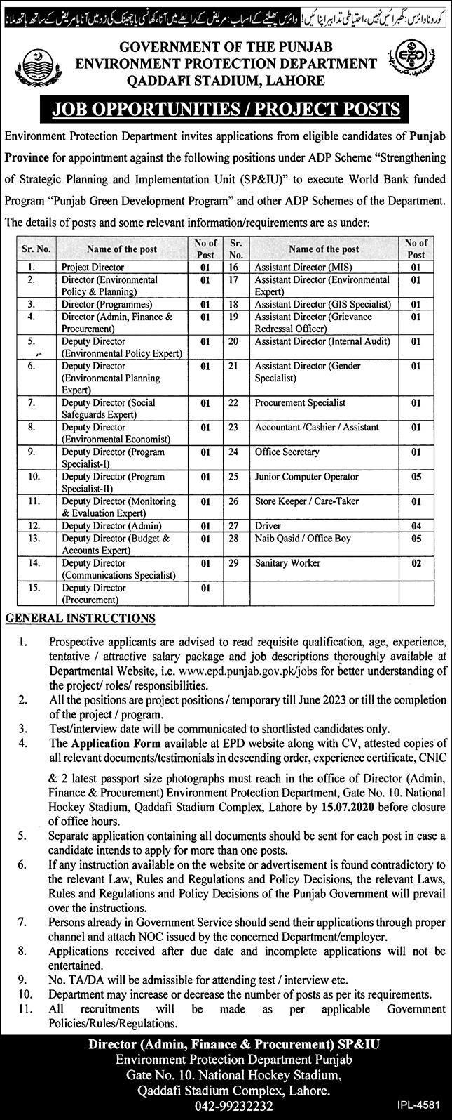 Environment Protection Department Jobs
