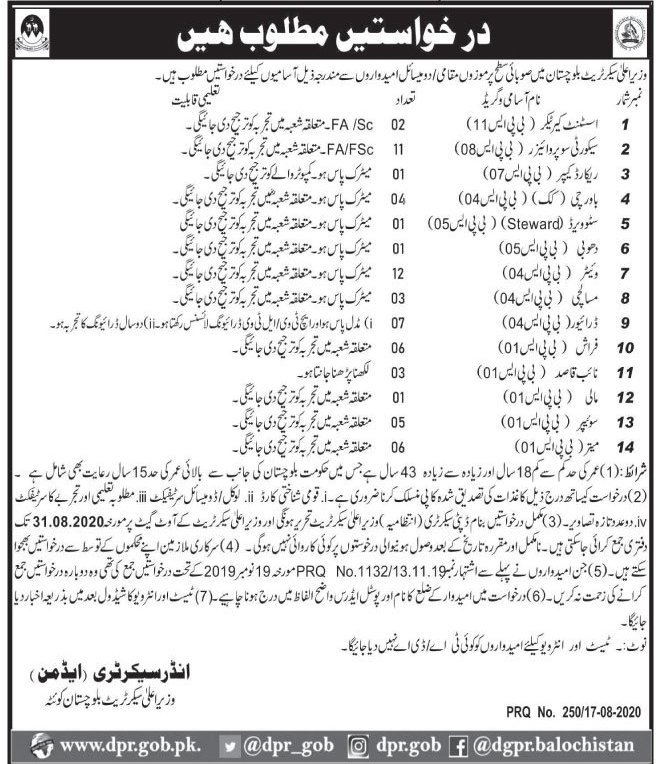 Chief Minister Secretariat Jobs