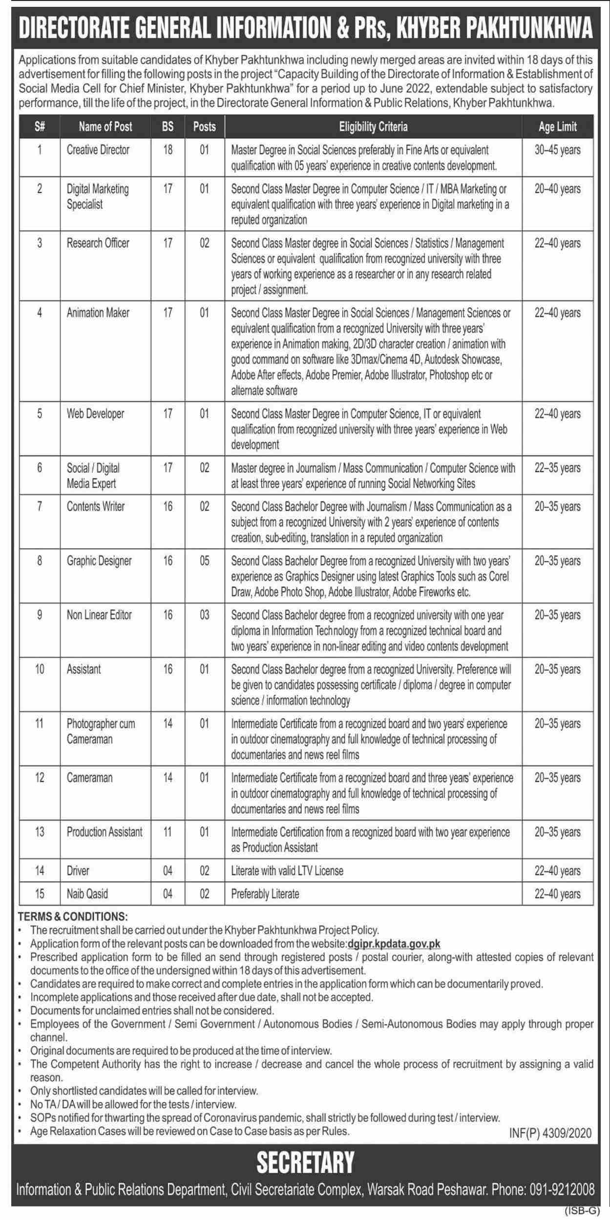 Directorate Of Public Relations Jobs