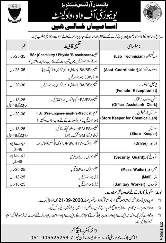 Pakistan Ordnance Factories POF Jobs