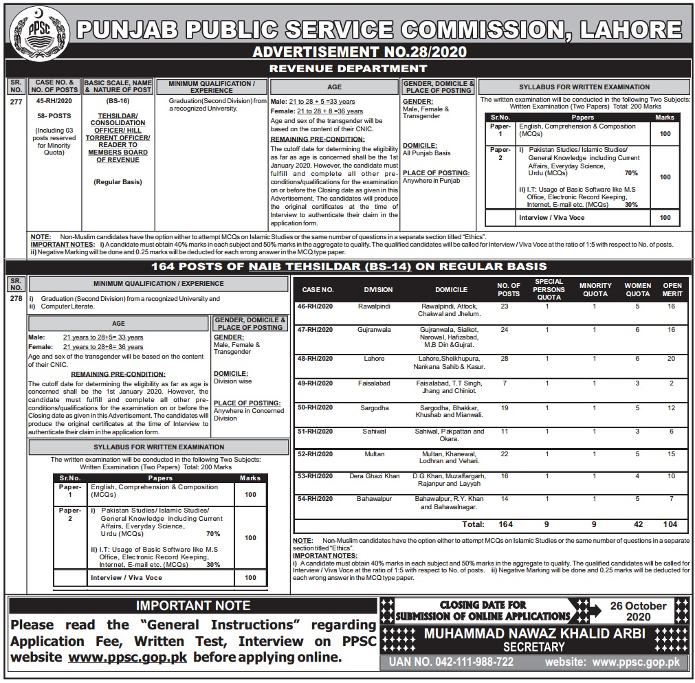 PPSC Tehsildar Punjab Revenue Jobs