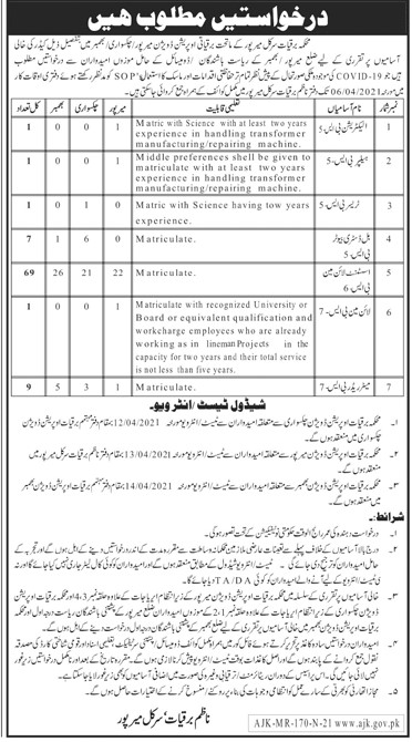 AJK Electricity Department Jobs